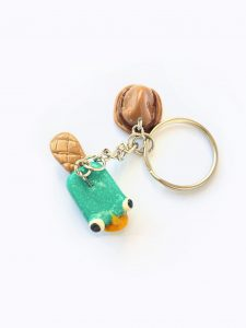 Photo of a Polymer Clay Perry the Platypus Keyring
